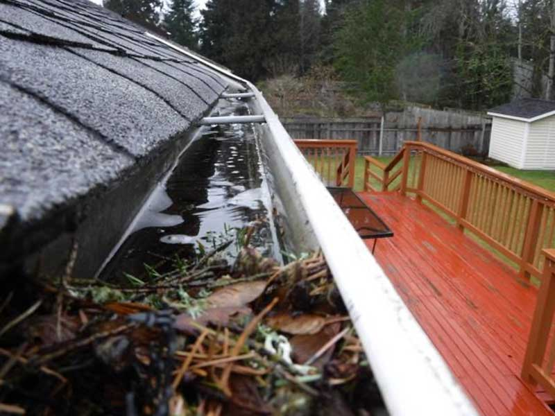 Gutters full of needles and debris, even with the DIY gutter protection installed in Maple Valley