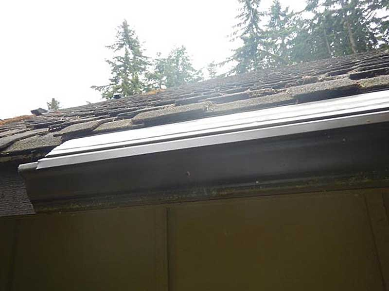 Close-up of MasterShield installed on the gutters in Port Townsend, Washington.