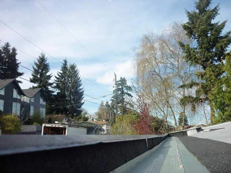 Built in gutters on a roof in Mount Vernon, Washington