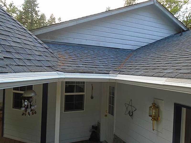 New gutters with the MasterShield gutter protection system installed in Rochester, WA