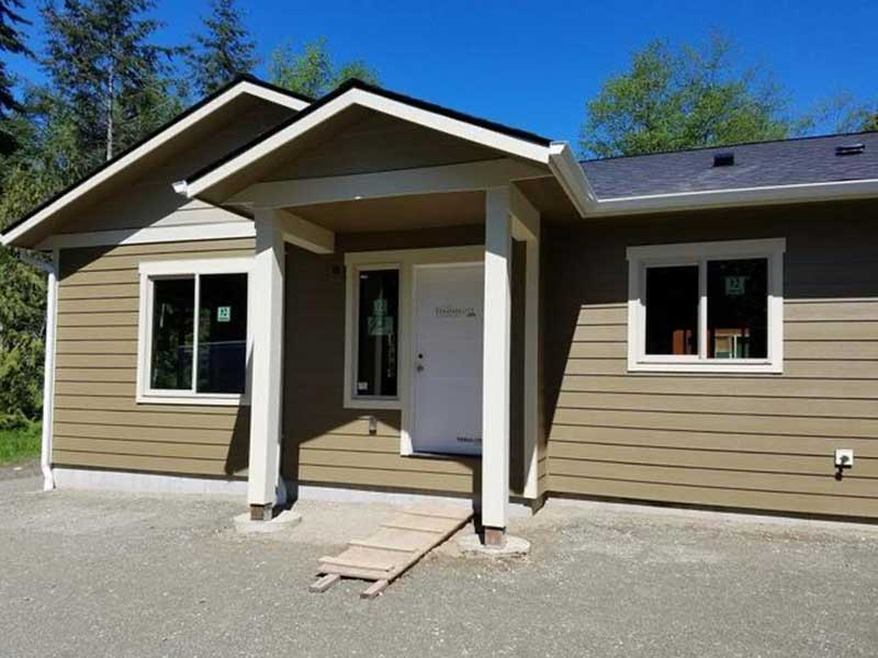 Newly constructed home with brand new gutters in Port Townsend, WA.