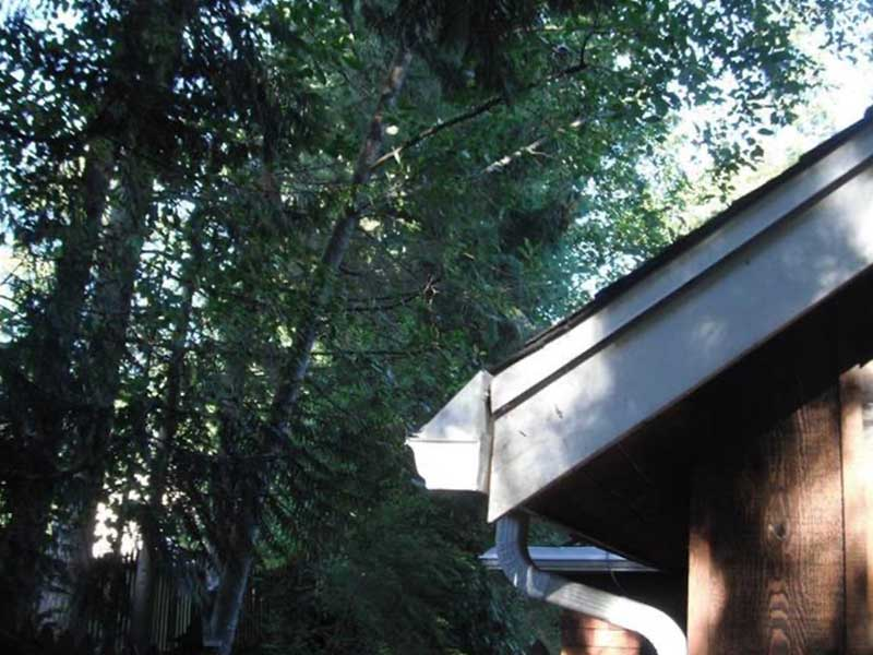 Side view showing the rake flashing now installed in Bothell, WA