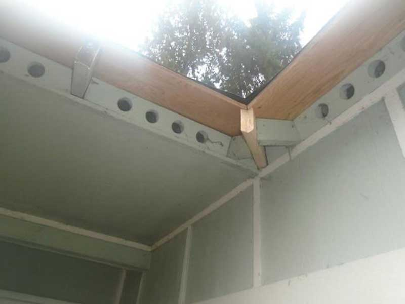 Here you can see much of the sheathing was replaced and the rafter was remade for the home in Seattle, WA