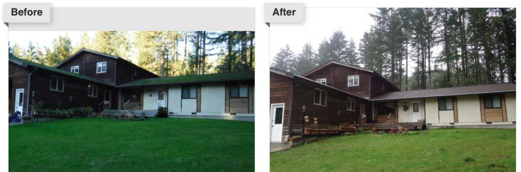Before and after gutter protection system installation in Seattle